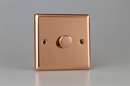 Varilight Polished Copper 1-Gang 2-Way Push-On/Off Rotary Dimmer 1x100-1000W NOT SUITIBLE FOR LED's